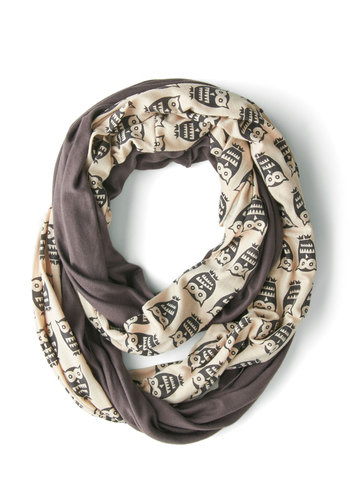 Peek of Pattern Circle Scarf Set in Owls - Grey, Tan / Cream, Print with Animals, Owls, Good, Jersey, Cotton, Knit, Variation, Halloween