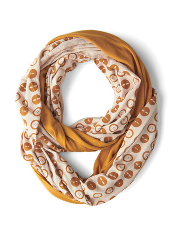 Peek of Pattern Circle Scarf Set in Buttons - Yellow, White, Good, Jersey, Cotton, Knit, Novelty Print, Variation, Fall, Top Rated