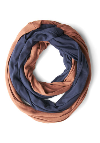 Twice as Terrific Scarf - Solid, Colorblocking, Good, Jersey, Cotton, Knit, Blue, Tan / Cream, Casual, Gifts Sale