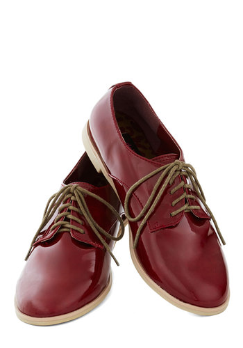 All in a Day's Footwork Flat in Oxblood - Red, Menswear Inspired, Flat, Good, Lace Up, Solid, Faux Leather, Variation