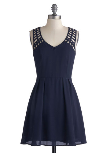 Lattice Update Dress - Solid, Cutout, Party, A-line, V Neck, Chiffon, Woven, Short, Blue, Good, Sheer, Sleeveless