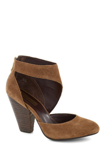 Hollywood Tour de Force Heel - Brown, Solid, Cutout, Mid, Leather, Better, Party, Suede