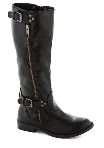 Morning Meet Up Boot - Black, Solid, Buckles, Exposed zipper, Low, Better, Urban, Fall, Faux Leather