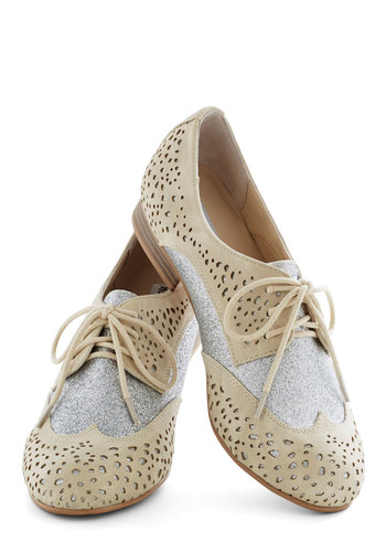 Glimmer Galore Flat - Cream, Silver, Solid, Cutout, Glitter, Menswear Inspired, Faux Leather, Low, Good, Lace Up