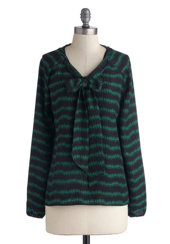Amiable in Midtown Top - Novelty Print, Long Sleeve, Good, Mid-length, Woven, Green, Black, Tie Neck, Work, Casual, Black, Long Sleeve