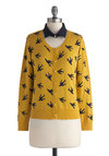 Sightseeing is Believing Cardigan - Print with Animals, Mid-length, Knit, Yellow, Black, Buttons, Casual, Long Sleeve, Yellow, Long Sleeve