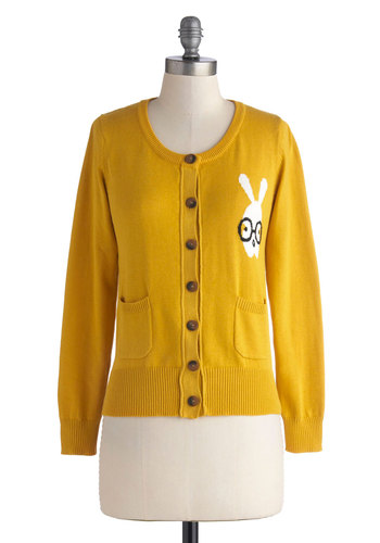 A Little Bit Bunny Cardigan in Mustard - Print with Animals, Mid-length, Yellow, Buttons, Pockets, Long Sleeve, Black, White, Quirky, Scholastic/Collegiate, Knit, Variation, Scoop, Yellow, Long Sleeve