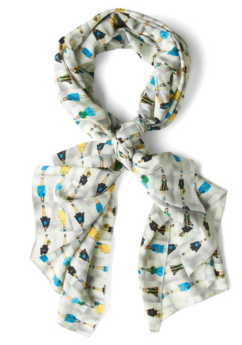 Runway We Go Scarf - Knit, Grey, Multi, Novelty Print, Quirky, Sheer