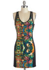 Blossom Bash Dress - Multi, Girls Night Out, Bodycon / Bandage, Tank top (2 thick straps), Good, Short, Knit, Sheer, Urban, Print, Mini, Scoop, Statement