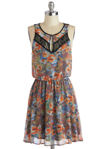 Botanic Garden Party Dress - Black, Floral, Lace, Casual, A-line, Tank top (2 thick straps), Good, Mid-length, Woven, Sheer, Multi, Orange, Blue, Scoop