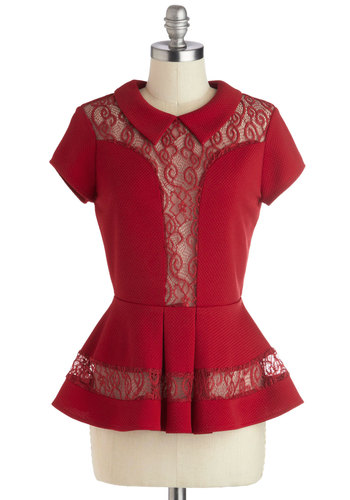 Cider House Top - Red, Solid, Lace, Party, Peplum, Short Sleeves, Mid-length, Sheer, Peter Pan Collar, Vintage Inspired, 40s, Collared, Knit, Red, Short Sleeve, Valentine's