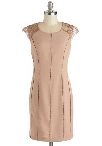 Luxe Allure Dress - Tan, Solid, Lace, Cocktail, Shift, Cap Sleeves, Good, Mid-length, Woven, Sheer, Party, Pastel, Scoop, Pink