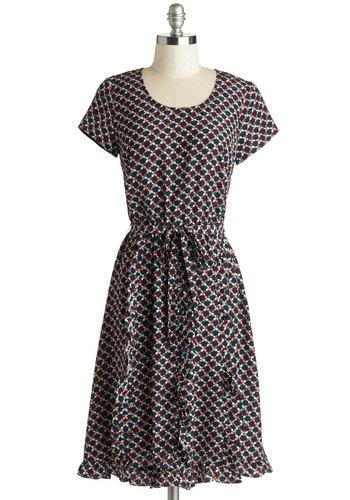 Quintessential Quatrefoil Dress - Long, Satin, Woven, Blue, Multi, Print, Ruffles, Belted, A-line, Short Sleeves, Good, Scoop, Work