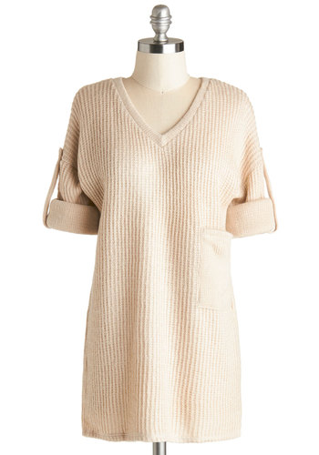 Snuggly Scholar Sweater - Tan, Solid, Long Sleeve, Better, Knit, Mid-length, Knitted, Pockets, Casual, V Neck, Fall, White, Tab Sleeve