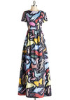 To Creature Own Dress - Print with Animals, Cotton, Woven, Long, Pockets, Party, Maxi, Short Sleeves, Best, Multi, Novelty Print, Quirky, Statement