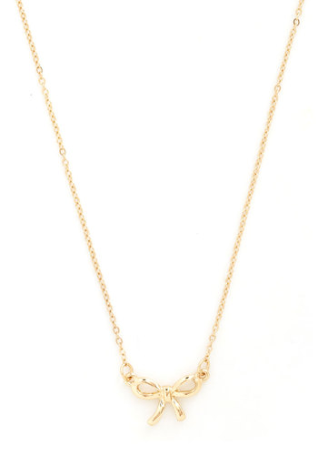 Treasured Trinket Necklace - Gold, Solid, Bows, Gold