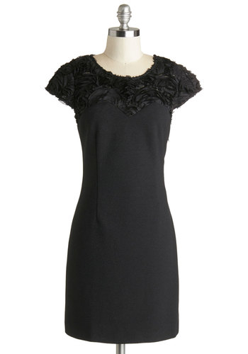 Gazebo Waltz Dress - Black, Solid, Flower, Cocktail, Minimal, Cap Sleeves, Better, Sheer, Shift, Party, Scoop, Knit, LBD, Mid-length