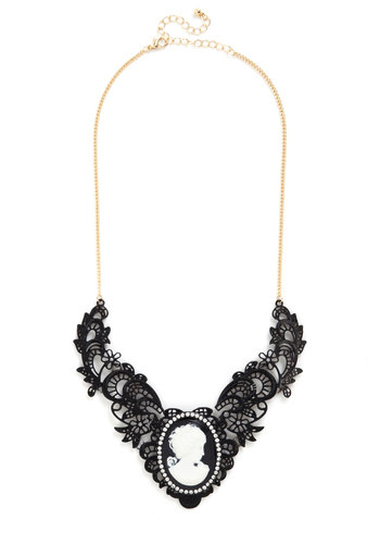 Visage of Love Necklace - Black, White, Gold, Solid, Lace, Steampunk, Rhinestones, Statement, French / Victorian