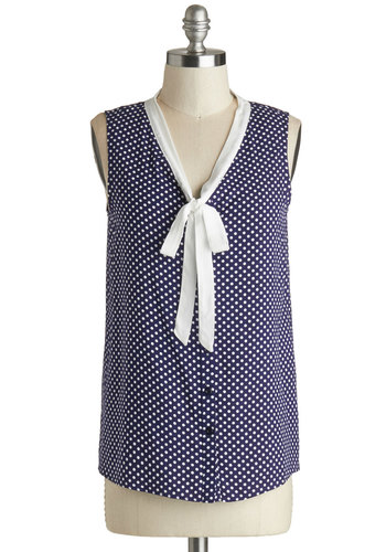 Mentor in the Making Top - Blue, White, Polka Dots, Buttons, Work, Sleeveless, Mid-length, Woven, Tie Neck, Nautical, Vintage Inspired, Blue, Sleeveless