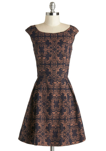 Fit for a Queendom Dress - Black, Print, Cocktail, A-line, Cap Sleeves, Bronze, Woven, Mid-length, Better, Exposed zipper, 20s