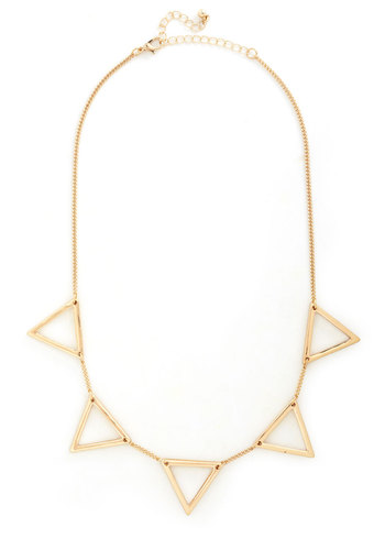 Triangle Fandangle Necklace - Gold, Solid, Cutout, 90s