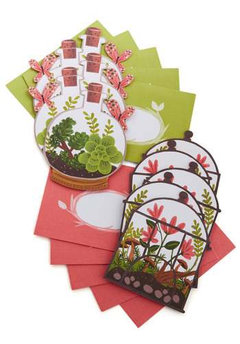 Terrarium of Expertise Notecard Set by Chronicle Books - Multi, Green, Coral, Floral
