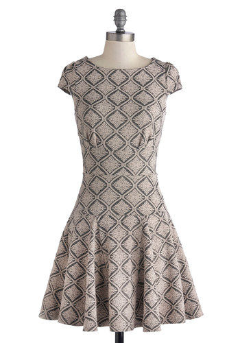 Perfume Shopping Dress - Knit, Mid-length, Tan, Grey, Print, Exposed zipper, Party, A-line, Cap Sleeves, Better, Scoop, 20s