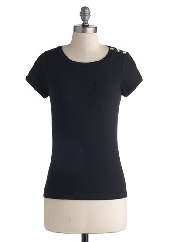 Striking Simplicity Top - Cotton, Knit, Mid-length, Black, Solid, Buttons, Casual, Short Sleeves, Exclusives, Basic, Black, Short Sleeve