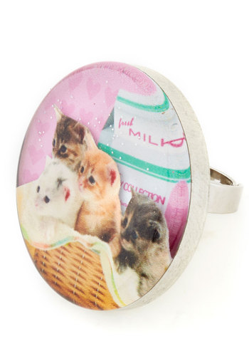 Cats Me If You Can Ring by Locketship - Multi, Pink, Print with Animals, Quirky, Cats, Better, Casual, Kawaii, Statement