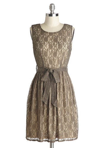 The Gilded Sage Dress - Mid-length, Tan, Solid, Belted, Casual, A-line, Sleeveless, Better, Scoop, Knit, Lace