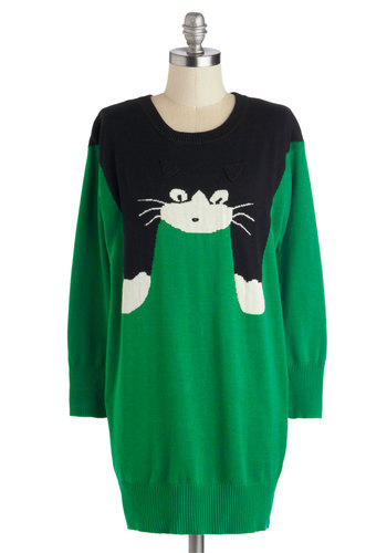 Hugs to Go Sweater in Black Tabby - Print with Animals, Knit, Long, Green, Black, Casual, Quirky, Cats, Long Sleeve, Better, Statement, Crew, Novelty Print, Green, Long Sleeve