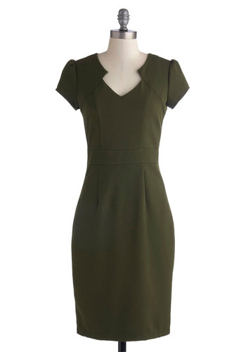 Work the Right Angle Dress in Olive - Green, Solid, Work, Vintage Inspired, Sheath / Shift, Good, Long, Knit, Cap Sleeves