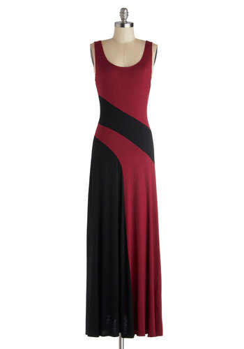 Black Raspberry Swirl Dress - Red, Black, Casual, Colorblocking, Maxi, Tank top (2 thick straps), Good, Scoop, Long, Jersey, Knit, Urban, Solid