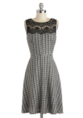 Make It Happen Dress - Black, White, Lace, Work, A-line, Sleeveless, Mid-length, Sheer, Woven, Houndstooth