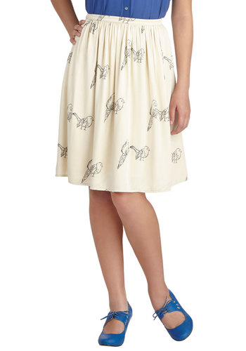 Sketch Your Wings Skirt - Cream, Print with Animals, Better, Mid-length, Woven, Work, Ballerina / Tutu, White, Gifts Sale