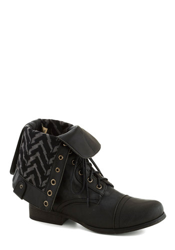 Multiple Choice Boot - Black, Solid, Military, Low, Better, Lace Up, Faux Leather, Casual, Urban, Steampunk