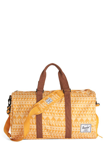 Geometry Genius Weekend Bag by Herschel Supply Co. - Yellow, Brown, Print, Travel, Orange