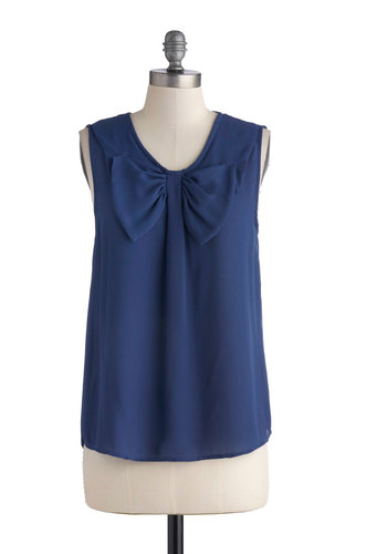 Home on the Hydrangea Top - Blue, Solid, Bows, Sleeveless, Sheer, Mid-length, Work, Daytime Party, Woven, Scoop, Blue, Sleeveless