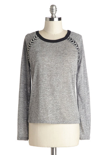 Reading and Writing Top - Grey, Long Sleeve, Better, Mid-length, Knit, Solid, Casual, Fall, Scoop, Grey, Long Sleeve