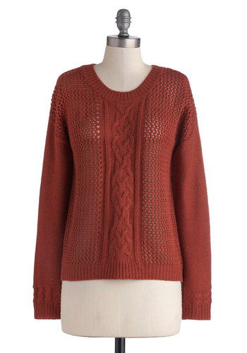 Cinnamon Spice Sweater - Orange, Solid, Long Sleeve, Good, Mid-length, Sheer, Knit, Knitted, Scholastic/Collegiate, Fall, Scoop, 90s, Brown, Long Sleeve, Top Rated