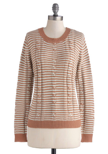 Scenic Sunset Sweater - Brown, Stripes, Long Sleeve, Good, Mid-length, Knit, Tan / Cream, Knitted
