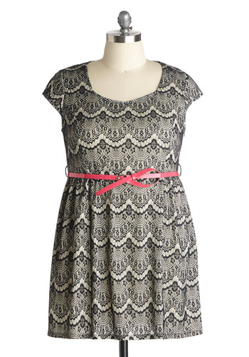 Exquisite Evening Dress in Plus Size - Sheer, Knit, Tan / Cream, Black, Lace, Belted, Party, A-line, Cap Sleeves, Better, Pink, Scoop