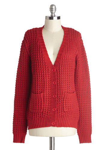 Downtime to Shine Cardigan - Red, Solid, Long Sleeve, Good, Knit, Mid-length, Buttons, Knitted, Pockets, Casual, Scholastic/Collegiate, Fall, 90s, Red, Long Sleeve