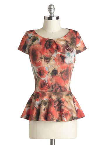 Properly Prepared Top - Mid-length, Pink, Tan / Cream, Floral, Work, Daytime Party, Peplum, Short Sleeves, Scoop, Knit, Orange, Short Sleeve