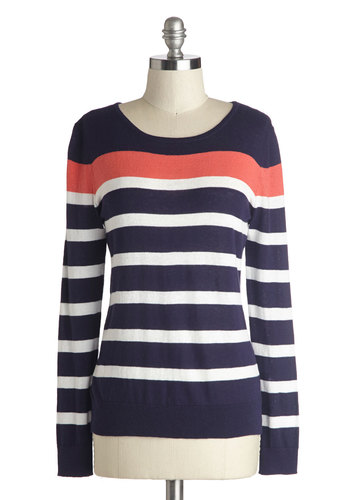 Casual Reasoning Sweater - Blue, White, Stripes, Long Sleeve, Good, Cotton, Knit, Mid-length, Coral, Casual, Nautical, Scoop