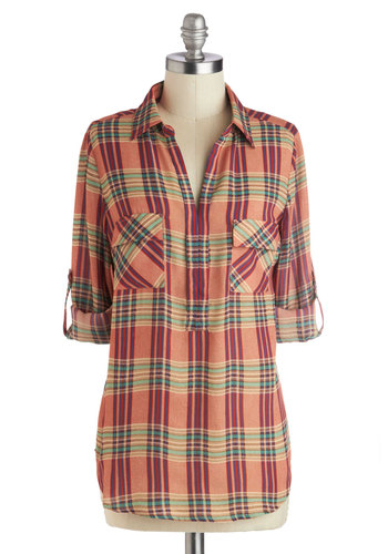 Seasonably Warm Top - Woven, Mid-length, Yellow, Green, Plaid, Buttons, Casual, Long Sleeve, Good, Collared, Multi, Red, Orange, Pockets, Rustic, Orange, Tab Sleeve