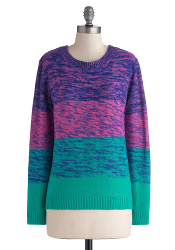 Everyday Energetic Sweater - Mid-length, Multi, Blue, Purple, Pink, Casual, Long Sleeve, Good, Stripes, Fall, Knit, Crew, Multi, Long Sleeve