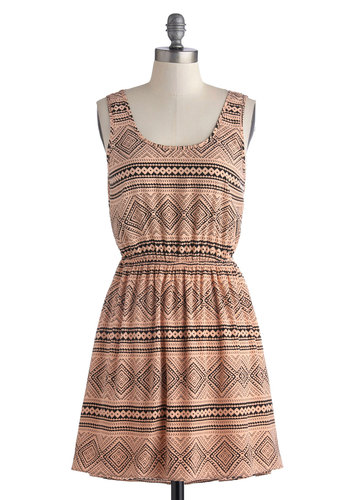 Cabin Chic Dress - Woven, Short, Pink, Black, Print, Bows, Cutout, A-line, Tank top (2 thick straps), Good, Scoop, Casual