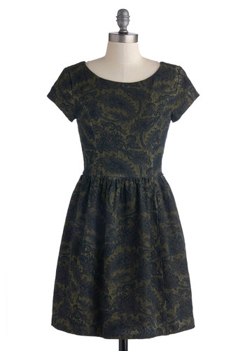 Just Stunning Dress - Short, Cotton, Woven, Green, Blue, Print, A-line, Short Sleeves, Better, Scoop, Paisley, Casual, Military