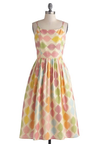 High Socie-tea Dress in Macaron by Bea & Dot - Print, Pockets, Daytime Party, A-line, Spaghetti Straps, Better, Scoop, Private Label, Cotton, Woven, Multi, Pleats, Exclusives, Long, Graduation, Spring